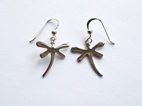 Plain Polished Dragonfly Drop Earrings