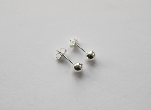 925 Sterling Silver Small Simple Polished Ball Stud Earrings These Studs Measure 0 4cm Across They Come Complete With Erfly