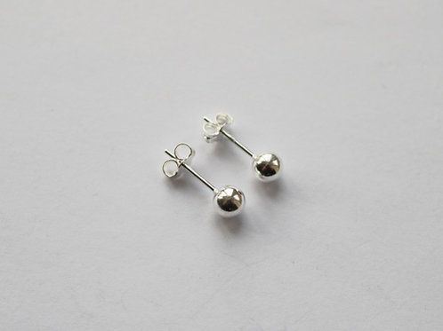 Small Simple Polished Ball Stud Earrings