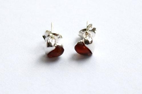Cognac Amber Half Heart Stud Earrings