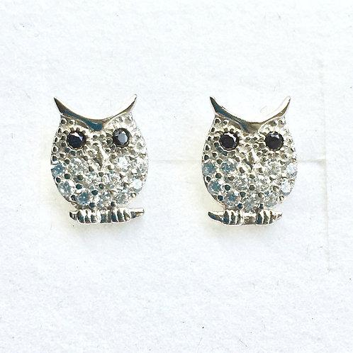 CZ Owl Stud Earrings