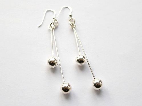 Double Ball Stick Drop Earrings