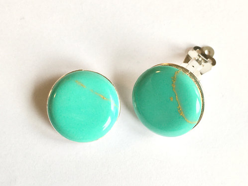 Circular Green Turquoise in resin Clip On Earrings