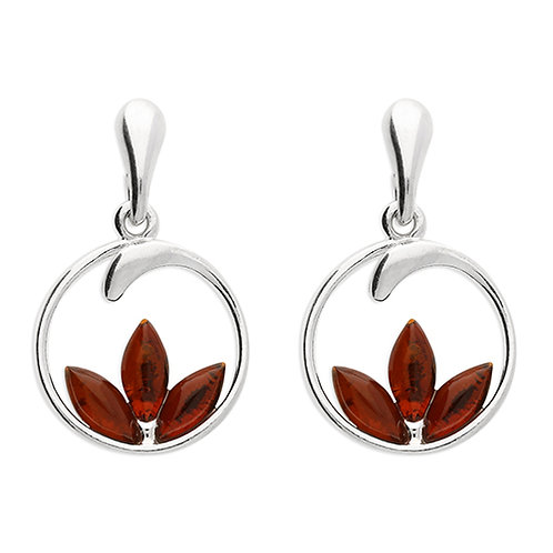 Sterling Silver Amber Lotus Post Drops