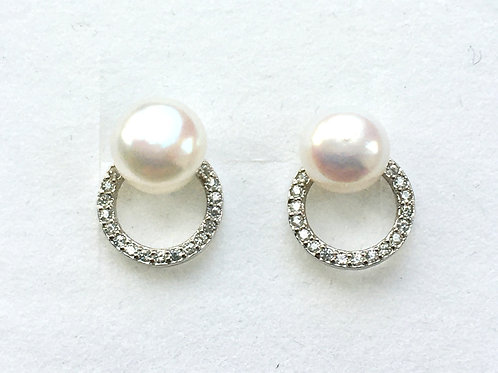 Freshwater Pearl & CZ Open Circle Studs
