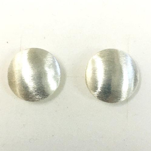 Large Brushed Silver Circular Studs