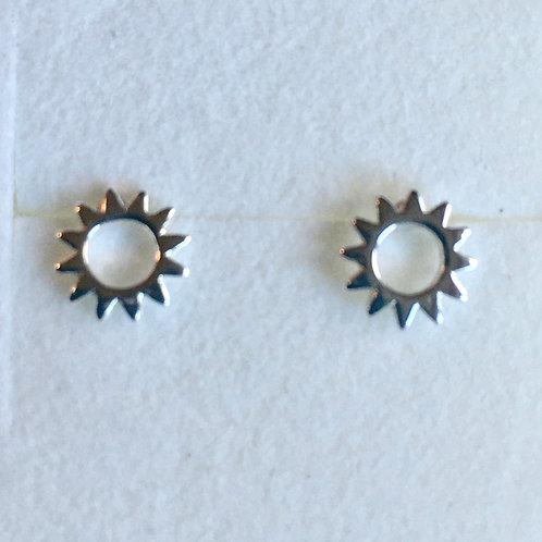 Small Open Sun Stud Earrings