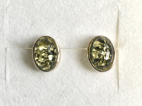 Oval Green Amber Studs