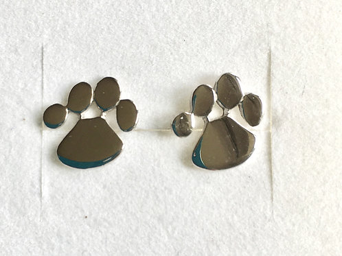 Small Plain Silver Paw Stud Earrings