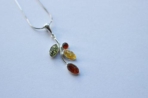 Four Colour Amber Branch Pendant