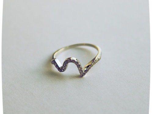 Multi CZ Single Line Wave Ring