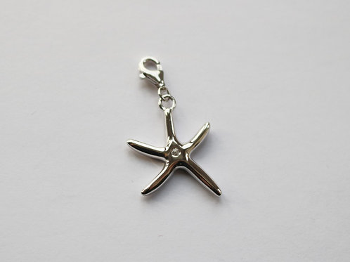 Polished Plain Starfish with Centre CZ Charm