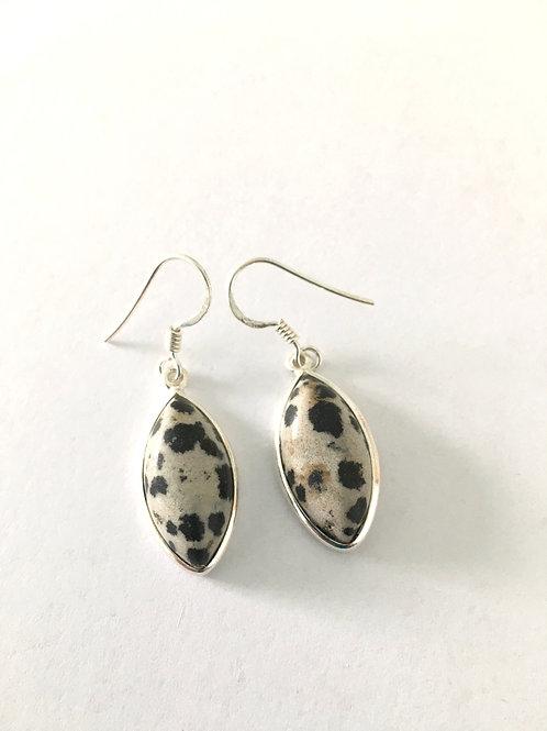 Dalmatian Jasper Marquis Drop Earrings