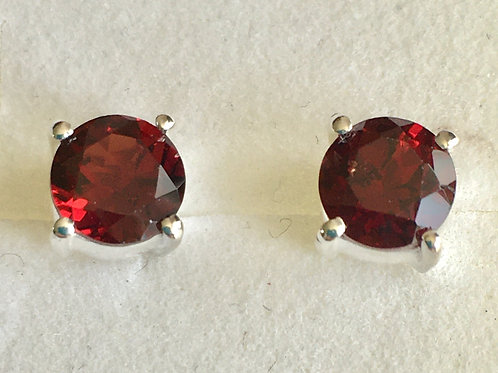 Circular Medium Sized Natural  Cut Garnet Stud Earrings
