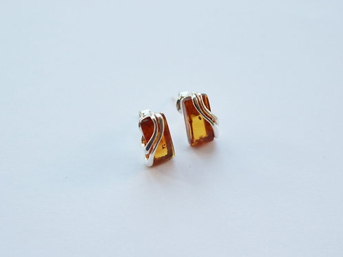 Rectangular Cognac Amber Stud Earrings with Silver Detail