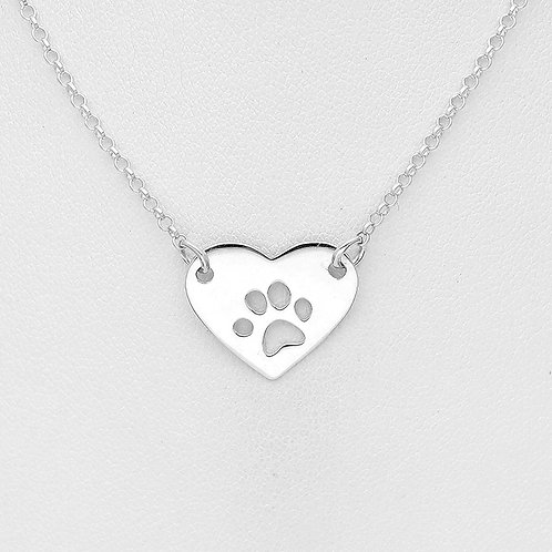 Heart with Paw Prints Necklace