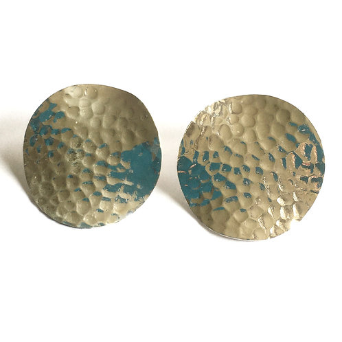 Very Large Hammered Circle Stud Earrings