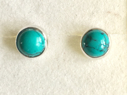 Circular Small Nautural Green Turquoise Stud Earrings