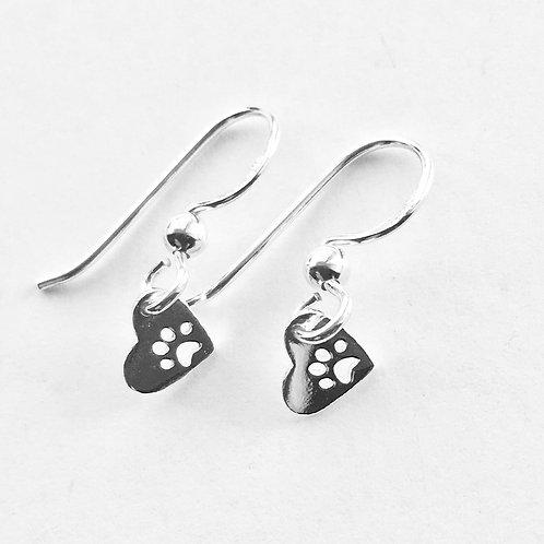 Tiny Paw in Heart Drop Earrings