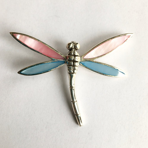 Very Large Mother Of Pearl Dragonfly Brooch