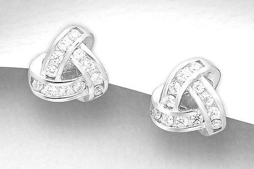 CZ Knot Stud Earrings