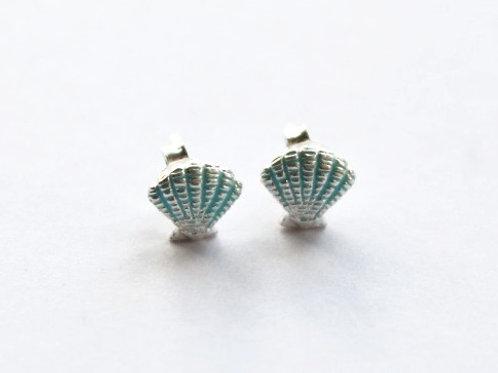 Blue Enamel Scallop Shell Stud Earrings