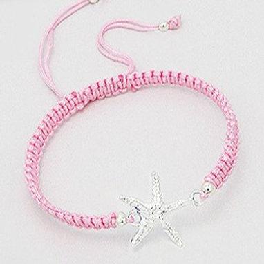 925 Sterling Silver Starfish Pink Adjustable Bracelet