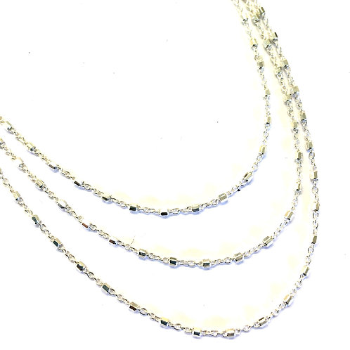 Triple Strand Fancy Chain Necklace