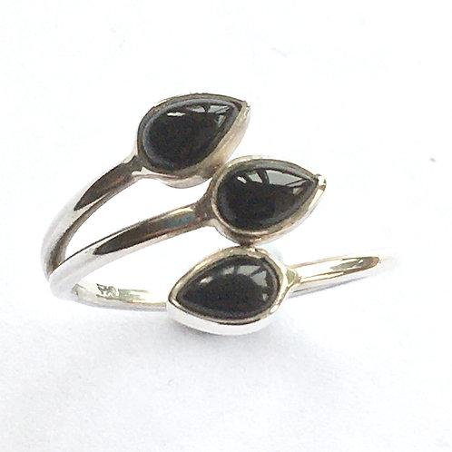 Black Onyx Triple Teardrop Crossover Ring