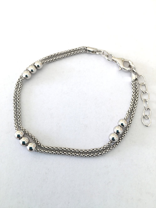 Double Strand Oxidised Chain & Bead Bracelet
