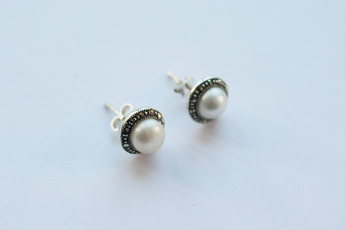Freshwater Pearl Centre Marcasite Surround Circular Stud Earrings