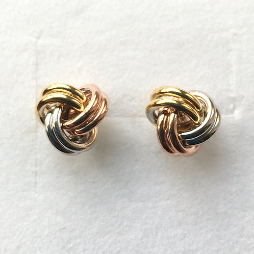 Vermeil Triple Colour Knot Studs
