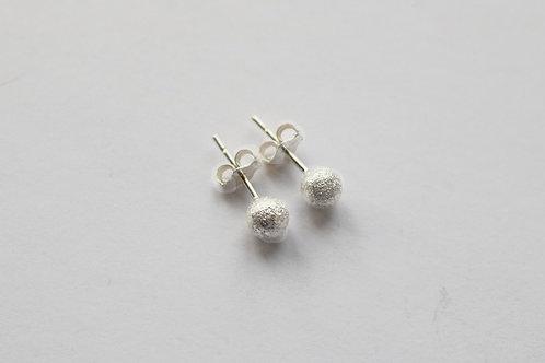 Small Laser Textured Glitter Ball Stud Earrigs