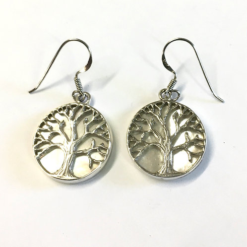 White Mother Of Pearl Tree Of Life Drop Earrings