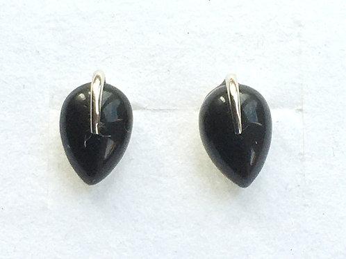 Black Onyx Teardrop Stud Earrings