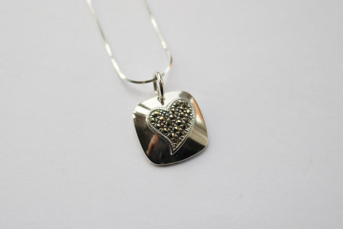 Square Cushion with Marcasite Heart Pendant