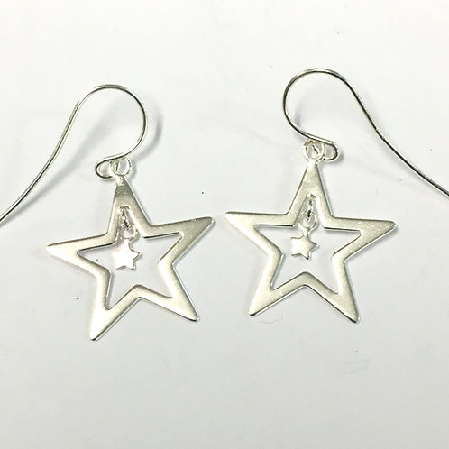 Open Star Drop Earrings