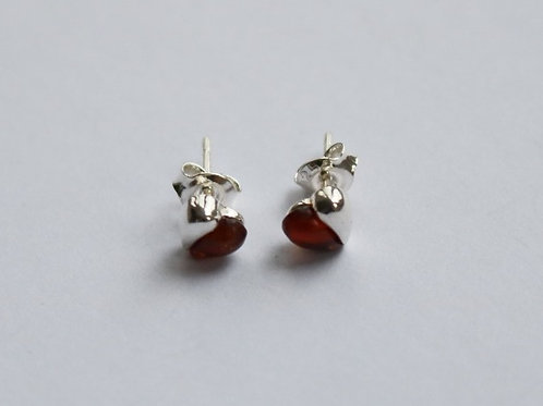 Cognac Amber Half Heart Stud Earrings
