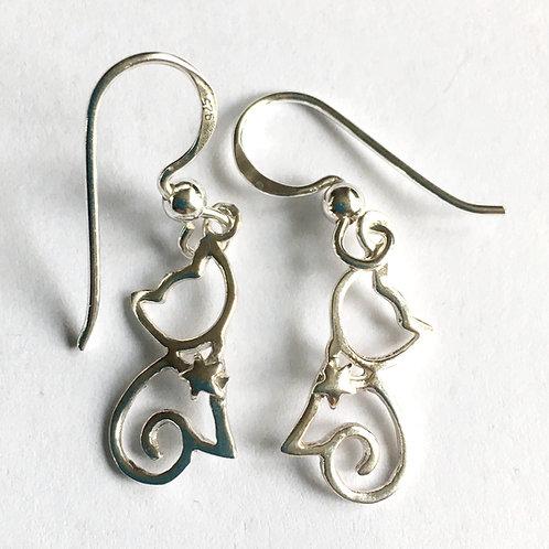 Open Cat Drop Earrings