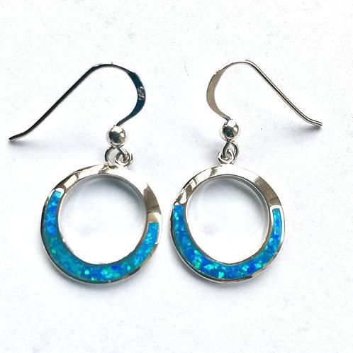 Blue Opalite Open Circle Drop Earrings