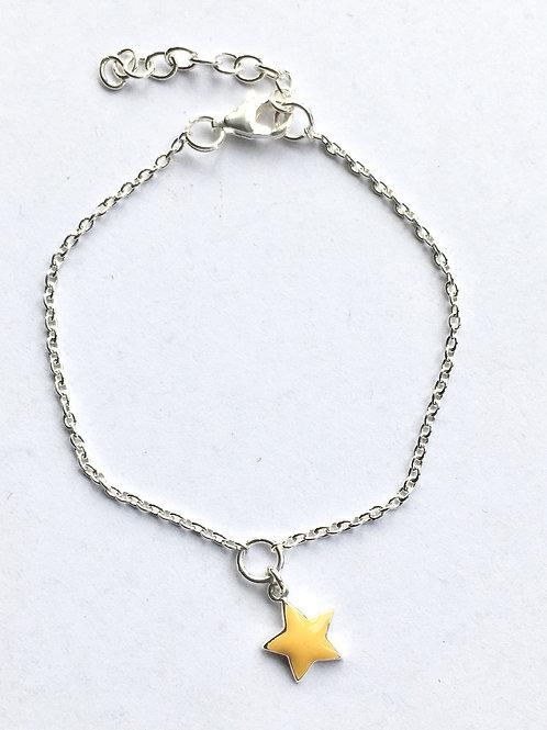 Yellow Enamel Star Chain Bracelet