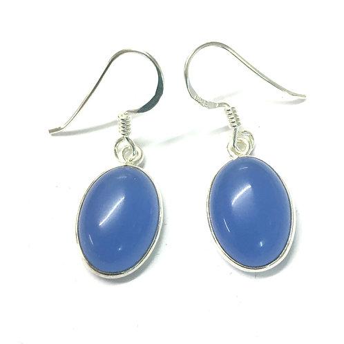 Oval Blue Chalcedony Drop Earrings