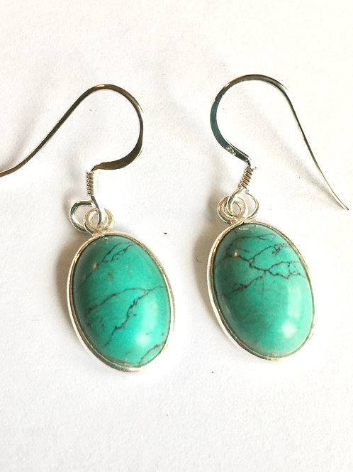 Oval Natural Turquoise Drop Earrings