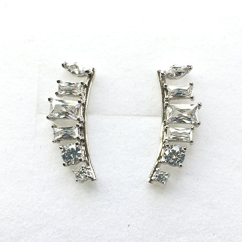Multi CZ Wing Ear Climber Stud Earrings