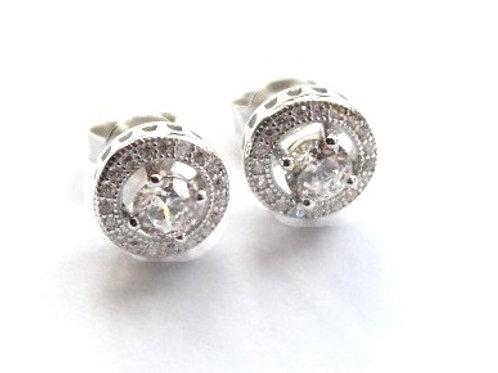 Clear CZ Halo Stud Earrings