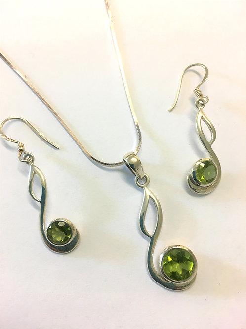 Peridot Pendant & Earring Set