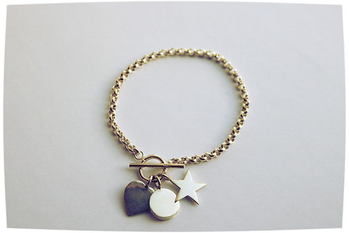 Belcher Chain T Bar Bracelet With Heart Star and Disc Charms