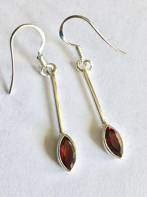 Natural Garnet Marquis Stick Drop Earrings