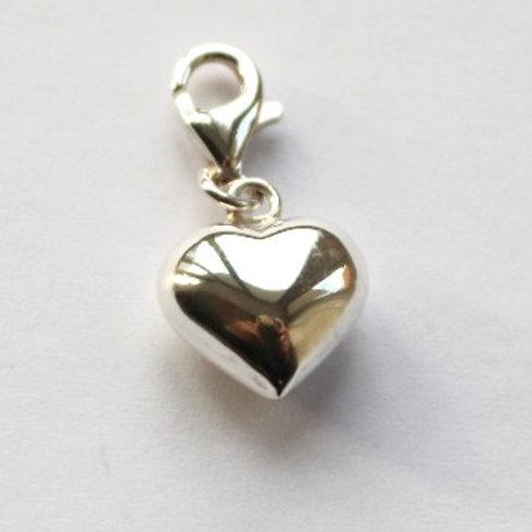 Polished Puff Heart Charm