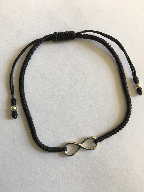 Infinity Black Cord Adjustable Bracelet